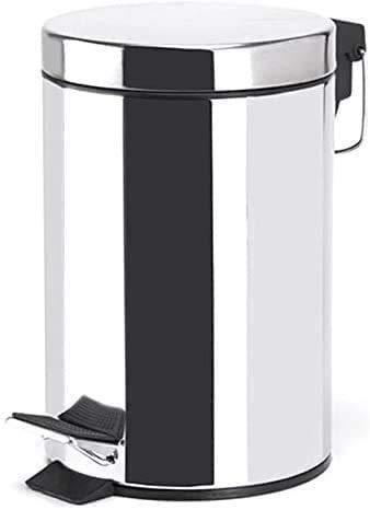 TIENDA EURASIA® Cubo de Basura con Pedal de Cocina, Acero Inoxidable, Acabado Cromado Brillante. Disponible en Varios tamaños. Ideal para Cocina, Baño, Salón. (5L)
