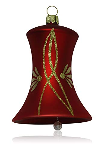 Grande Rojo Mate con enredaderas 2campanillas D 7cm árbol de Navidad árbol de Navidad. soplado, handdekoriert...