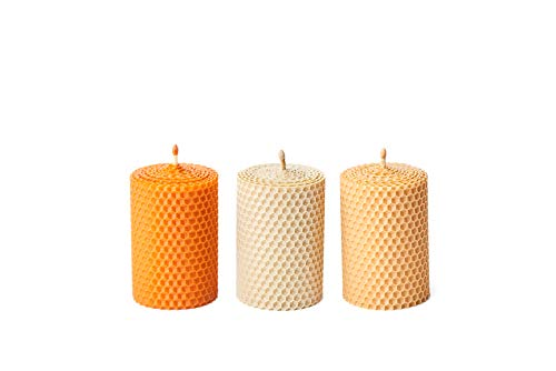 Beeswax Gifts 100% Beeswax Candles Set of 3 Colored Pillar Candles (Size 3.3 x 2.15 in) with Natural Honey Scent for Gift and Home Decor (Ivory, Orange and Peach, 3.3 x 2.15 in)