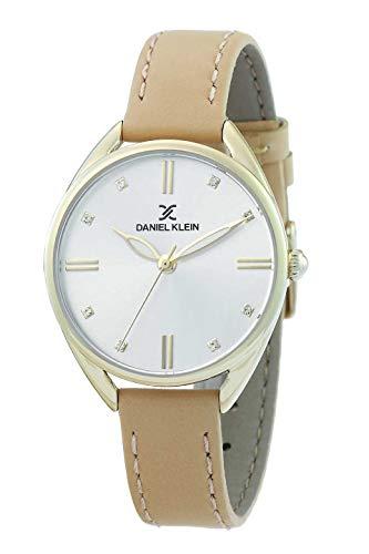Daniel Klein Reloj de pulsera para mujer (DK12371) – Correa de cuero – 34 mm analógico relojes de moda para mujer – Movimiento de cuarzo japonés – Stich blanco – muchos colores