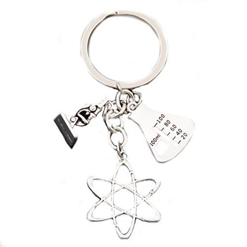 Wetenschappelijke sleutelhanger met meetcilinder, atom en microscoop fysiciek chemie biologie | leraar | cadeau | student | wetenschap