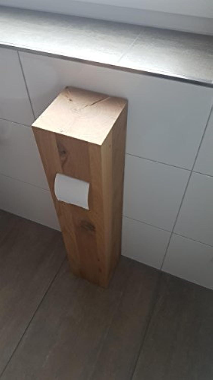WC Toilettenpapierrollenhalter, Eiche massiv, Asteiche makant, Massivholz