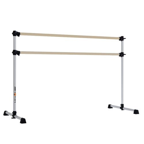 Vita Vibe BD60-W Traditional Wood Portable Double Bar Ballet Barre - Freestanding Stretch/Dance Bar, 5-Feet