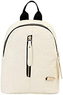 Backpack Lady Fashion Simple School Backpack Synthetic Crocodile Leather Travel Backpack Dragon Mini Backpack,White