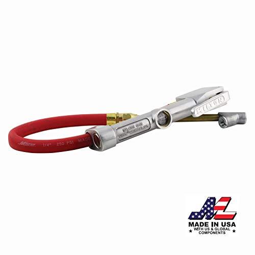 "Milton (S-516) Straight Foot Chuck Tire Inflator Gauge - 15"" Hose, Lock-On Threads"