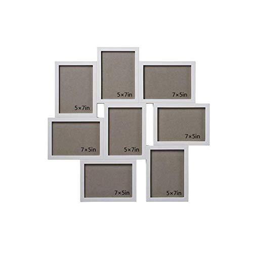 Arte de Oficina en casa Marcos de Fotos, Collage Frame Frame para 10 Fotos en 5'x7 (13x18cm), ABS Montado en la Pared Galería de Fotos, Blanco para el Modo Vertical u Horizontal (Color : White)