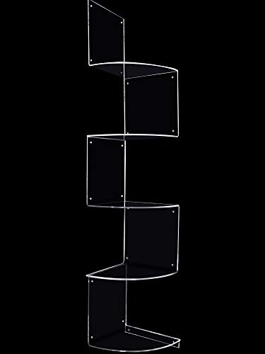 5 Pieces Acrylic Corner Shelf, Wall Mount Corner Shelf Acrylic Floating Corner Shower Storage Organizer with Square Acrylic Board for Living Room Bathroom Kitchen Office and More (Clear)