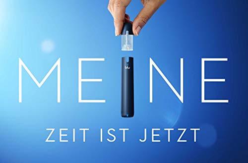 Starter Set mit E-Zigarette Vape Device myblu + 3 Doppelsets Liquids Geschmack Blue Ice + Tobacco + Tobacco Vanilla - Ohne Nikotin - 350 mAh USB Ladestecker + Tattooset und Soft Touch Pen