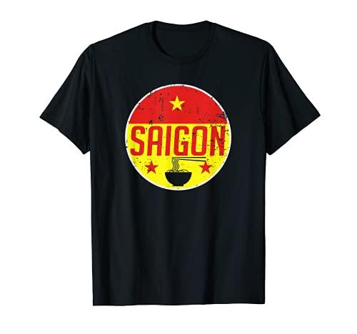 Saigon ホー・チ・ミン・ベトナム ビンテージフラッグ フォー お土産 ギフト Tシャツ