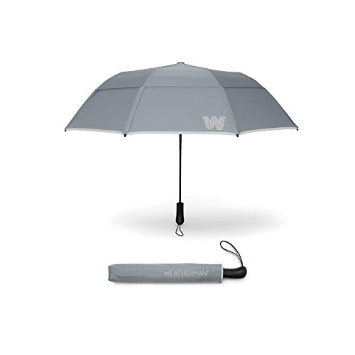 The Weatherman Umbrella - Collapsible Umbrella Made with Teflon-Coated Fabric - Built to Withstand Winds Up to 55 MPH - Available in 8 Colors (Gray)