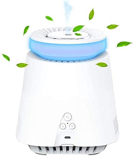 Purificador de aire 2 en 1 con humidificador de niebla, filtro HEPA, 2 niveles de ventilador 99,97% de potencia de filtrado silencioso, contra olores, polen, purificador de aire para fumadores
