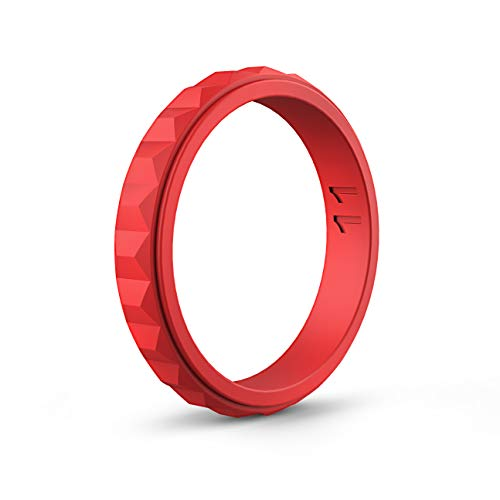ASTERY Women Silicone Wedding Ring Band,Hypoallergenic Medical Grade Silicone,Durable,Stretched and Comfortable 100% Guarantee,9 Colors (Red, 9-9.5(18.9mm))