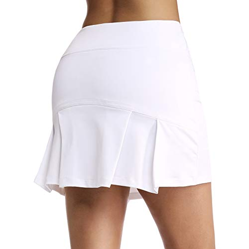 Ultrafun Women's Active Tennis Golf Skort Pleated Athletic Sports Running Skirt with Pockets and Shorts (White, Small)