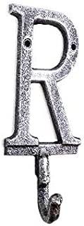 Hampton Nautical Rustic Silver Cast Iron Letter R Alphabet Wall Hook 6