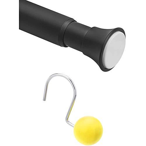 Amazon Basics Teleskop-Duschvorhangstange zum Einklemmen, 61-91 cm, Schwarz + – Haken für Duschvorhang, r&er Ball, gelb