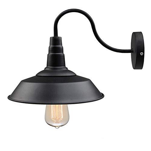 Wandlamp Retro Metalen Wandlamp Antieke Wandlamp Vintage Lampen Landelijke Stijl voor Landhuis Slaapkamer Woonkamer Eettafel (Zwart)