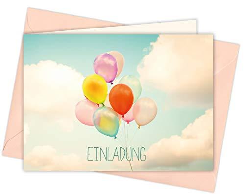 20 Karten & 20 Umschläge: Klappkarten Einladungskarten – Luftballons – DIN A6 im Set, Einladung zur Hochzeit, Taufe, Geburtstag, Konfirmation, Kommunion, Jubiläum