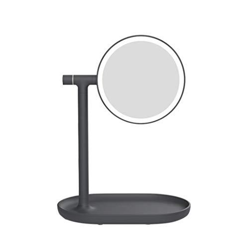 Miroir de Maquillage LED,Support Réglable Lumineux Double Face Rotation de Maquillage avec Rangement Grossissant de Maquillage (Color : Black)
