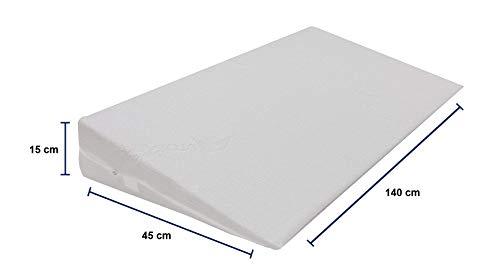 Dibapur Keilkissen mit Aloe Vera Bezug Matratzen Matratzenkeil Matratzenerhöhung Hochlagerungskeil fürs Bett Matratzen-Keil mit Doppeltuchbezug (B 140 x T 45 x H 15 / 1cm)