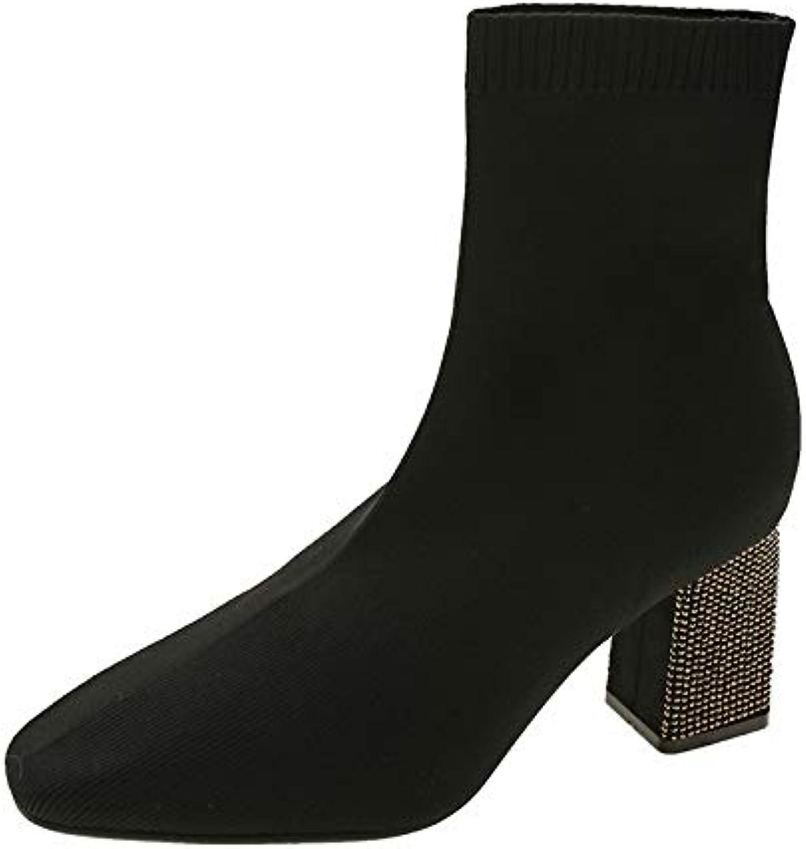 Christmas Women's Carnival Knit Upper Thick high Heel Boots Black Matte Upper 39EU