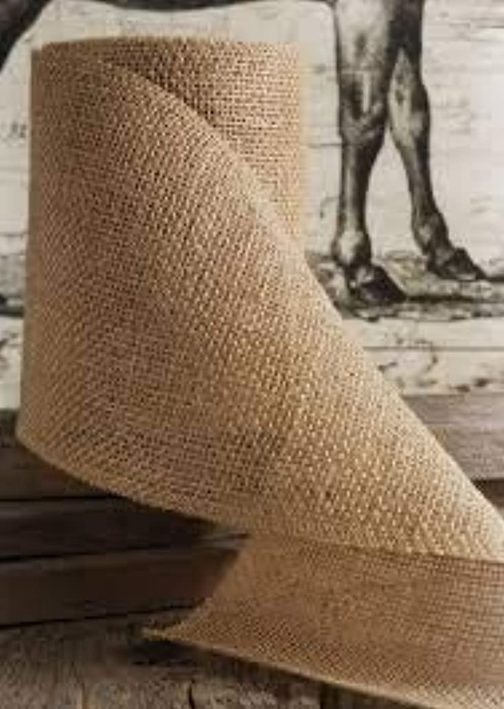 V'Decor Wide Burlap Ribbons Natural Jute Fabric Rustic Ribbon Roll for Favor Decoration DIY Handmade Craft Arts 10 Yards (Brown, 1) (4 inch)