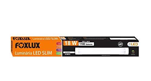Luminária LED Slim Foxlux – 18W – Bivolt – 6.500K – 60 cm – Luz Branca – Acompanha parafusos e base para fixação – Branca