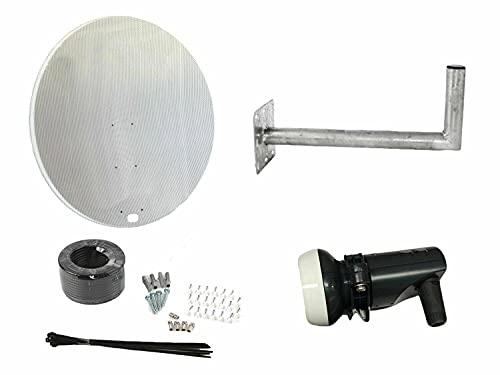 Duatec Parabola da 120 cm con Attacco a Parete, LNB Singolo e Kit di Installazione