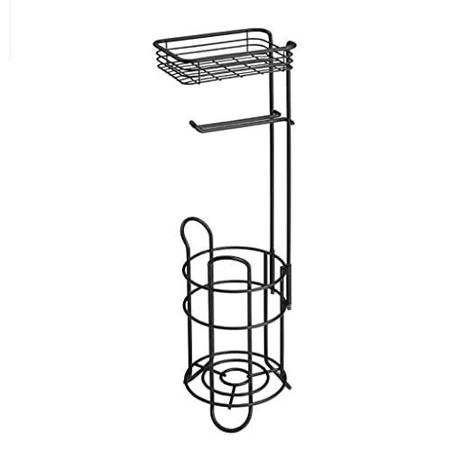 QFFL Soporte para Rollo de Papel Higiénico con Canasta de Almacenamiento, Portarrollos Papel Higienico de Pie, Sostiene Rolls, para Cocina, Baño, Sala de Estar.