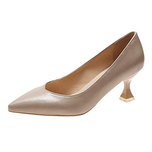 Mode Frauen High Heels Slip-On einfarbige Spitze Zehen Job Party Schuhe