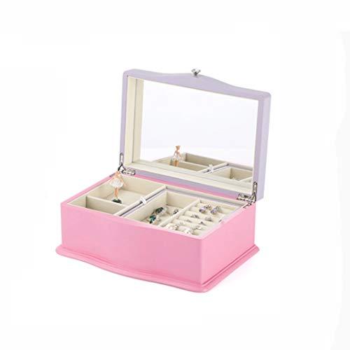 Caja de música Moda Música caja de música de madera joyería caja caja de música portable de la joyería caja de música de gran capacidad de almacenamiento caja de acabado caja música ( Color : Pink-A )