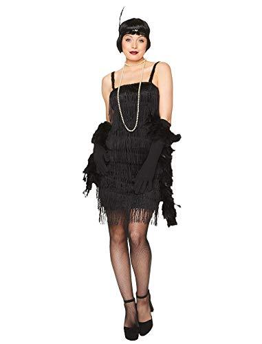 Karnival-1920's Black Flapper Dress Disfraz, Color negro, extra-large (81025)