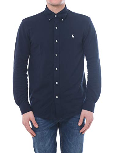 Polo Ralph Lauren Mod. 710654408 Camisa Piqué Slim Fit Hombre Azul XXL