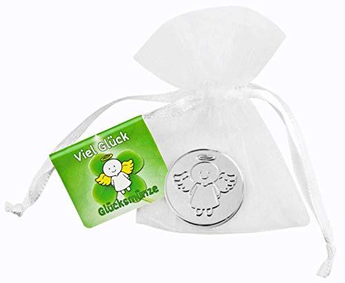 EnerChrom Schutzengel Glücksmünze - Viel Glück - Engel Smiling Paul - 1 Stück - Farbe Silber - Glücksbringer Münze