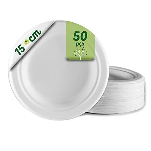 50 assiettes jetables biodégradables en papier de canne à sucre Ø15 cm. Vaisselle jetable blanche extra forte pour les fêtes et les pique-niques. Plaques rondes en bagasse.