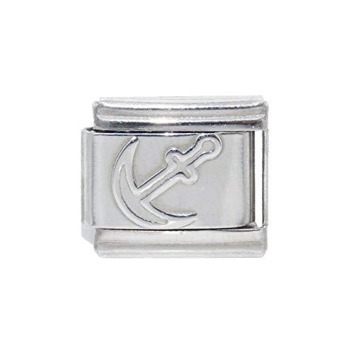 Cross mijn hart 9mm wit ANCHOR Italiaanse bedeltje voor armband roestvrij staal