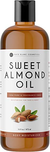 Sweet Almond Oil 16oz by Kate Blanc. 100% Pure, Cold Pressed, Hexane Free. Ideal for Face, Smoother Skin, Softer Hair. Use as Body Oil, Aromatherapy, and Carrier Oil. (Sweet Almond Oil)