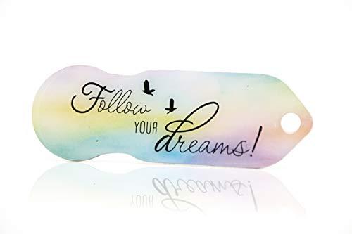 FOLLOW YOUR DREAMS Code24 Einkaufswagenlöser, Schlüsselanhänger mit Einkaufschip & Schlüsselfinder, inkl. Registriercode für Schlüsselfundservice, Einkaufswagenchip mit Profiltiefenmesser