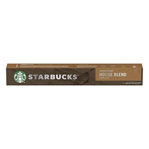 STARBUCKS- Cápsula de Cafe Expreso House Blend Lungo - Compatible con Nespresso - Intesidad de Sabor 8 - 10 Capsulas