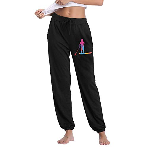 Women Fit Sweatpants, 100% Cotton Standup Paddleboard Jogger Pants for Womens Black