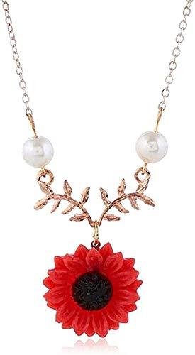 huangshuhua Collar Mujer Hombre Pequeña Flor Naranja Collar de Mujer Cadena Larga Dulces Joyería Regalo Femenino