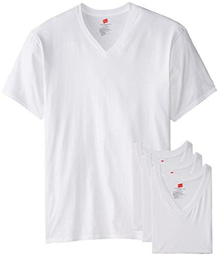 Hanes Herren T-Shirt mit V-Ausschnitt, 3 Stück - Weiß - XX-Large Hoch