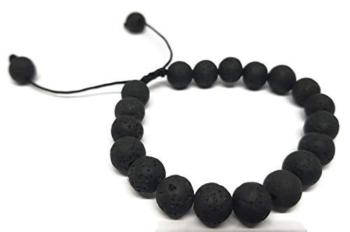 Mystic Jewels By Dalia Pulsera Shamballa para Hombre, Pulsera Trenzada de Perlas de Piedras Naturales de Lava en Negro, 16-23 cm