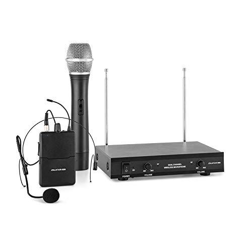 auna VHF-2-HS Set micrófonos inalámbricos VHF de 2 canales (alcance hasta 100 metros, incluye receptor, 1 micro con auriculares y 1 micro de mano)