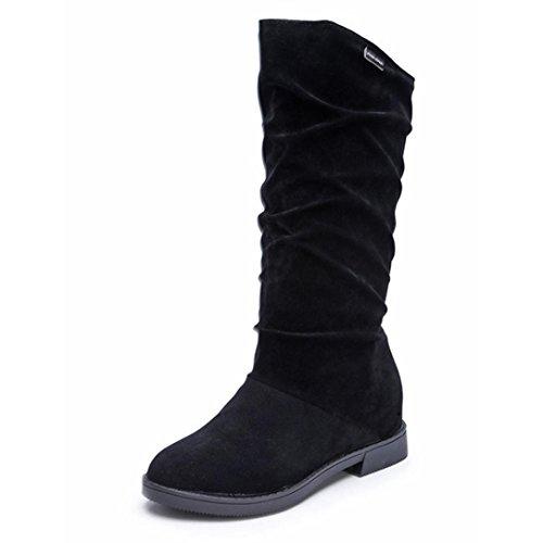 Femme Chaussures Bottes de Neige Hiver Boots Imperméable Fourrure Bottines Bottes Automne Hiver Bottes Femmes Douce Botte Stylish Flat Flock Chaussures Bottes de Neige GongzhuMM