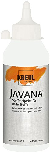 Kreul 91311 Javana Stoffmalfarbe für helle Stoffe, geschmeidige Farbe auf Wasserbasis mit cremigem Charakter, 250 ml Flasche, weiß