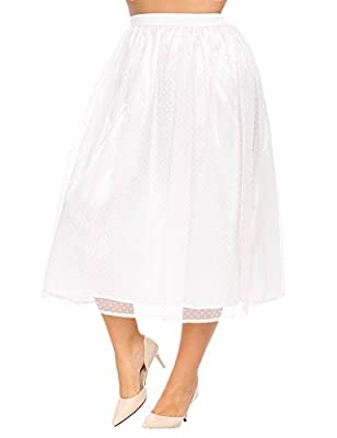 IN'VOLAND Women's Plus Size Layered Tutu A Line Knee Length Elastic Waistband Puffy Tulle Skirt for Prom Party,Wedding ETC