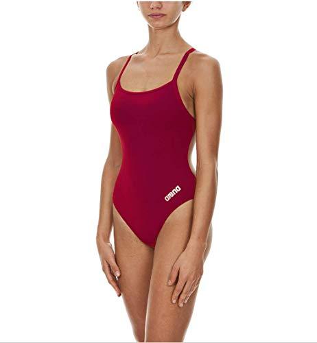 ARENA Damen-Badeanzug Mast MaxLife, dünner Träger, offener Racerback-Einteiler, Damen, Einteiliger Badeanzug, Beerenrot - Metallic-Silber, 38