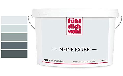 Fühl Dich Wohl Meine Farbe grau, matte Wandfarbe grau, hohe Deckkraft, verschiedene Grautöne zur Auswahl (5L, Lichtgrau 15-16)