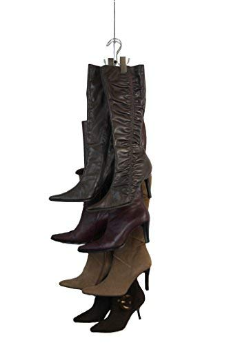 New Improved System- Boot STAX Vertical Hanging Boot Rack Boot Storage Boot Organizer 1 Vertical Rod That Swivels  6 Silver Boot Hangers Silver
