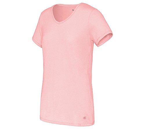 Champion womens Jersey V-Neck Tee pink bow heather XL